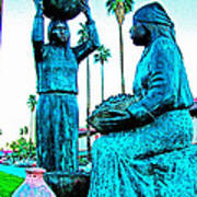 Cahuilla Women Sculpture In Palm Springs-california  Poster
