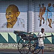 Calcutta - Rickshaw Passing Mahatma Gandhi Rd Metro-station Poster