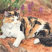 Calico Cat In Garden Watercolor Painting Poster