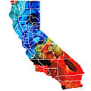 California - Map Counties By Sharon Cummings Poster