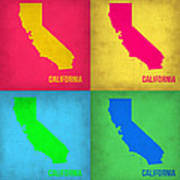 California Pop Art Map 1 Poster by Naxart Studio