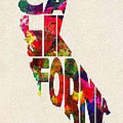 California Typographic Watercolor Map Poster