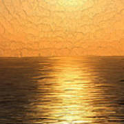 Calm Sunset At Sea Poster
