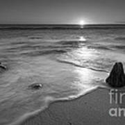 Calm Winter Waves Bw Poster