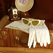 Camera Sunglasses On Luggage Poster