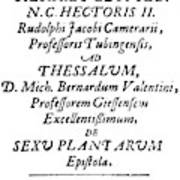 Camerarius Title Page, 1694 Poster