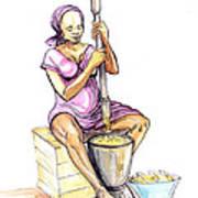 Cameroon Woman Grinding Plantain Bananas Poster