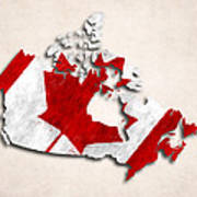 Canada Map Art With Flag Design Poster