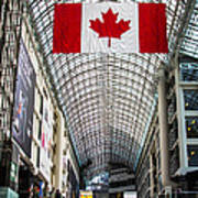 Canadian Flag Over Eaton Center Poster