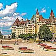 Canadian War Memorial And Chateau Laurier In Ottawa-ontario  Poster