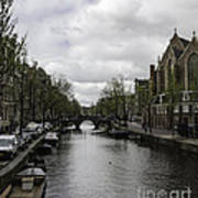 Canal Behind Oude Kerk In Amsterdam Poster