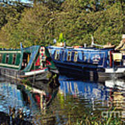 Canal Boats Passing Poster