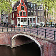 Canal Bridge And Houses In Amsterdam Poster