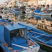 Canal In Grado With Fishing Boats Poster