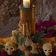 Candle On Day Of Dead Altar Poster