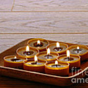 Candles In Wood Tray Poster