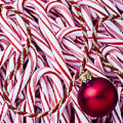 Candy Cane And Red Ornament Poster