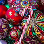Candy Canes And Colorful Ornaments Poster