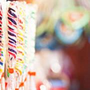 Candy Sticks At German Christmas Market Poster by Susan Schmitz