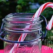 Candycane In Ball Jar Poster