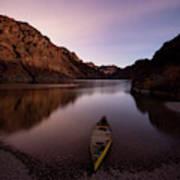 Canoe In Lake Near Shore, Arizona Poster