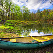 Canoeing At The Lake Poster