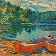 Canoes At Mountain Lake Poster