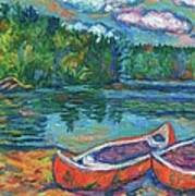 Canoes At Mountain Lake Sketch Poster
