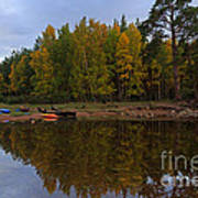 Canoes On The Shore At Loch An Eilein Poster