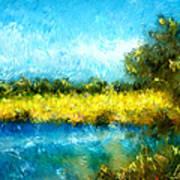 Canola Fields Impressionist Landscape Painting Poster