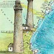 Cape Ann Twin Lighthouses Ma Nautical Chart Map Art Cathy Peek Poster