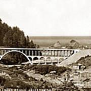 Cape Creek Bridge And Heceta Oregon Head Lighthouse  Circa1933 Poster