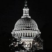 Capitol At Night Poster