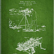 Capps Machine Gun Patent Drawing From 1899 - Green Poster