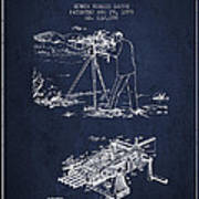 Capps Machine Gun Patent Drawing From 1899 - Navy Blue Poster