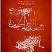Capps Machine Gun Patent Drawing From 1899 - Red Poster