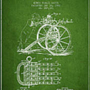 Capps Machine Gun Patent Drawing From 1902 - Green Poster
