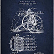 Capps Machine Gun Patent Drawing From 1902 - Navy Blue Poster