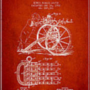 Capps Machine Gun Patent Drawing From 1902 - Red Poster