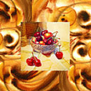 Cappuccino Abstract Collage Cherries Poster