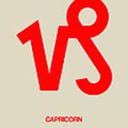 Capricorn Zodiac Sign Red Poster
