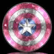 Captain America Shield Digital Painting Poster