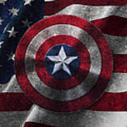 Captain America Shield On Usa Flag Poster