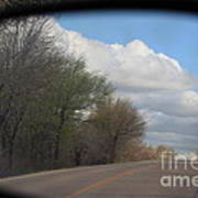 Car Mirror Landscape With Road And Sky. Poster