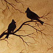 Cardinals Silhouettes Coffee Painting Poster