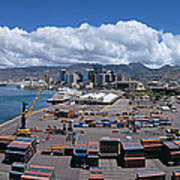 Cargo Containers At A Harbor, Honolulu Poster