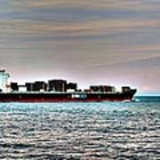 Cargo Ship Near Chesapeake Bay Bridge Tunnel Poster