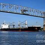 Cargo Ship Under Bridge Poster