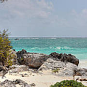 Caribbean Sea And Beach At Tulum Poster