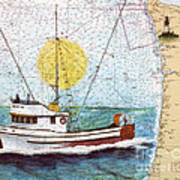 Carina Trawl Fishing Boat Nautical Chart Map Art Poster